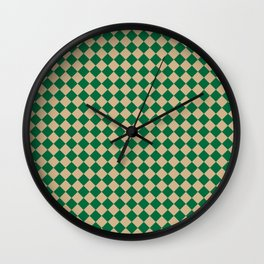 Tan Brown and Cadmium Green Diamonds Wall Clock