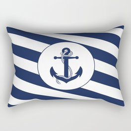 Nautical Anchor Navy Blue & White Stripes Beach Rectangular Pillow