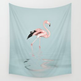 Flamingo on turquoise waters Wall Tapestry