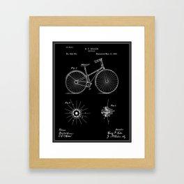 Bicycle Patent - Black Framed Art Print