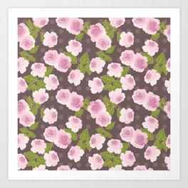 Pink roses choko polka dots pattern Art Print