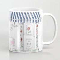 cafe Mugs featuring Cat Cafe by ArtRonin