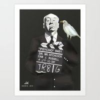 hitchcock Art Prints featuring Hitchcock by Dano77