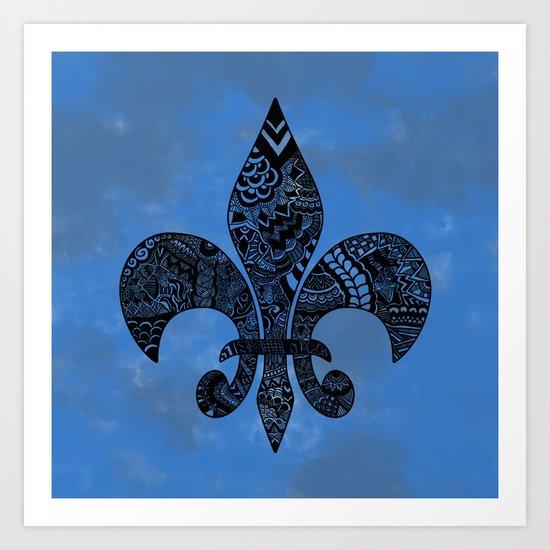 Blue Fleur de Lis Art Print