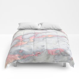 Rosegold Pink on Gray Marble Metallic Foil Style Comforters