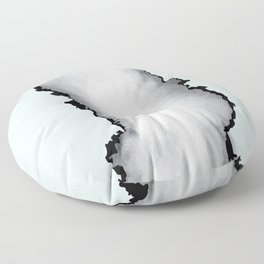 Light Blue Gray and Black Graphic Cloud Effect Floor Pillow