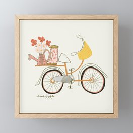 Floral Bicycle & Rain Boots Art Print Framed Mini Art Print