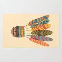rustic Area & Throw Rugs featuring Rustic shuttlecock by Picomodi