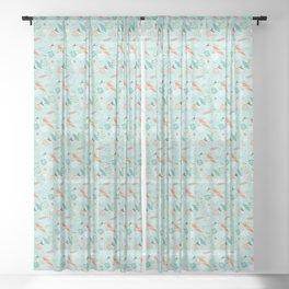 Surfs Up Blue Sheer Curtain