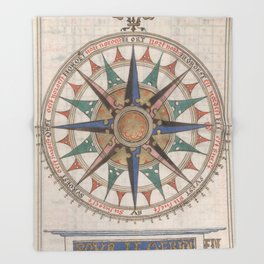Historical Nautical Compass (1543) Throw Blanket