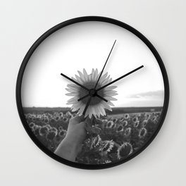 Her Sunflower (Black and White) Wall Clock