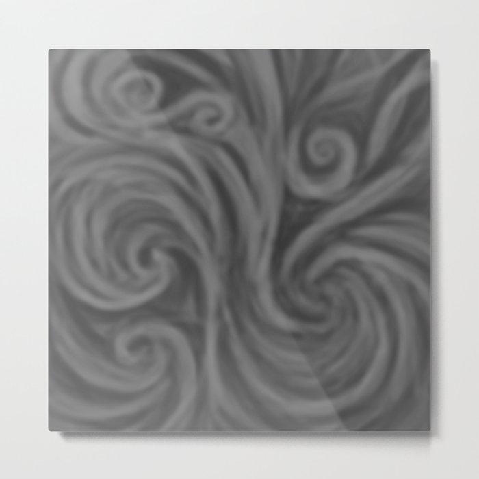 Dark Gray Swirl Metal Print