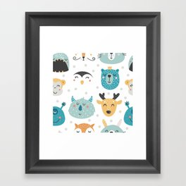 Baby Animals - Fantasy and Woodland Creatures Pattern Framed Art Print