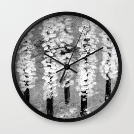 Cherry trees caught in a spring snow shower Wall Clock
