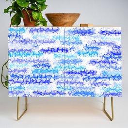 Cobalt Blue & Aqua Lines - White Credenza