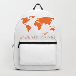 Adventure Map - Retro Orange on White Backpack