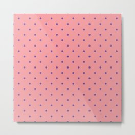 Purple Dots with Coral Pink Background Metal Print