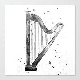 Harp, black and white Canvas Print