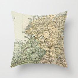 Encyclopedia Retro Map of Northern Ireland Throw Pillow
