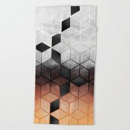 Ombre Concrete Cubes Beach Towel
