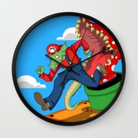 mario Wall Clocks featuring Mario? by ShelbyDenham