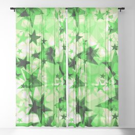 Metallic green glowing dark golden stars on a light background in the projection. Sheer Curtain