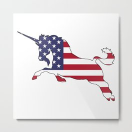 "Unicorn ""American Flag"" Metal Print"