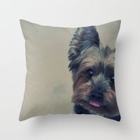 yorkie Throw Pillows featuring yorkie by michaelchon