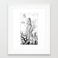 tarot Framed Art Prints featuring Tarot - Temperance by Zsofia Dome