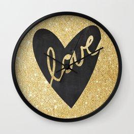 LOVE Is All You Need Black Gold Art Print Kitchen Art Printable Wall Decor Printed Quote Poster Digi Wall Clock