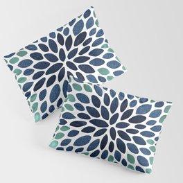 Flower Bloom, Aqua and Navy Pillow Sham