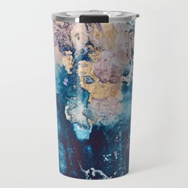 Breathe Again: a vibrant mixed-media piece in blues pinks and gold by Alyssa Hamilton Art Travel Mug
