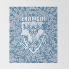 Enforcer Ice Hockey Player Skeleton Throw Blanket