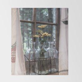 Bottled Flowers Throw Blanket