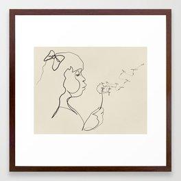 Dandelion Wish Line Framed Art Print