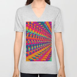 colorful art abstract background in pink blue green and orange Unisex V-Neck