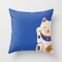 Blue Lucky Cat Maneki Neko Throw Pillow