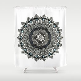 Black and White Flower Mandala with Blue Jewels Shower Curtain