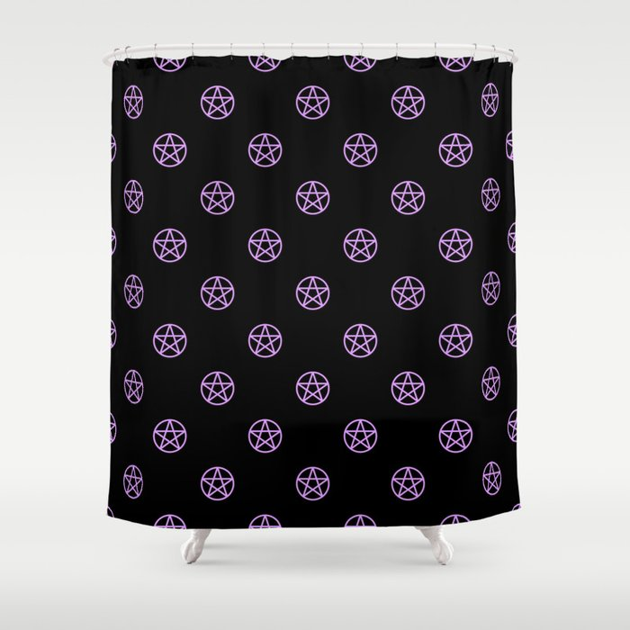 Purple Pentacle Pattern On Black Shower Curtain By Thepastelwitch