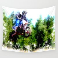 """moto Wall Tapestries featuring """"Dare to Fly"""" Motocross Racer by OnlineGifts"""
