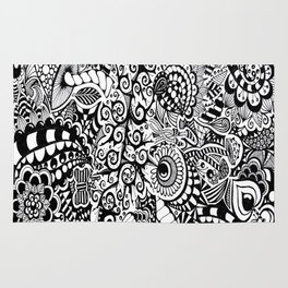 Mushroom madness black and white Rug