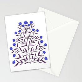 Indian Mughal Flower Pattern - Blue Stationery Cards