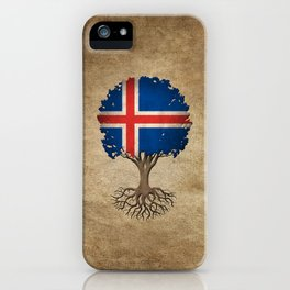 Vintage Tree of Life with Flag of Iceland iPhone Case