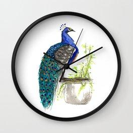 Peacock on Planter Wall Clock