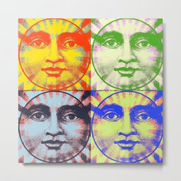 Faces of The Sun & Moon Metal Print