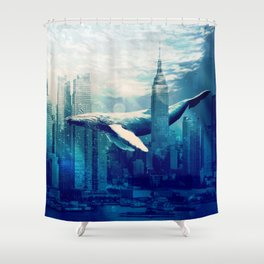 Blue Whale in NYC Shower Curtain