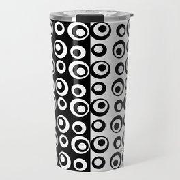 Mod Love Black/White Dots Circles Travel Mug