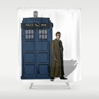 doctor who Shower Curtains featuring Doctor Who by Evelyn Gonzalez
