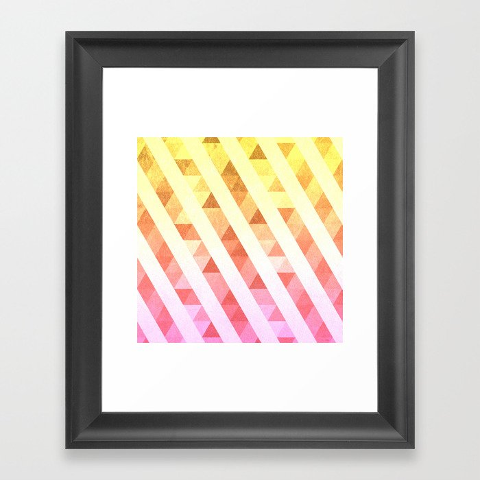 Triangles Lines Pattern Framed Art Print