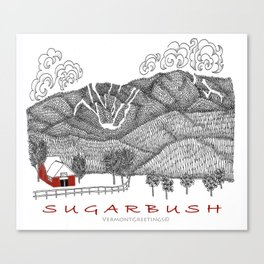 Sugarbush Vermont Serious Fun for Skiers- Zentangle Illustration Canvas Print